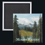"""Mount Rainier Landscape Photo Magnet<br><div class=""""desc"""">Square , decorative fridge magnet featuring a scenic photo image of Mount Rainier in Washington State. Makes a great travel souvenir! To see other products we have to offer,  click on the Northwestphotos store link.</div>"""