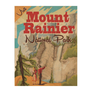 Mount Rainier nation park Vintage Travel Poster Wood Wall Art