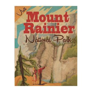 Mount Rainier nation park Vintage Travel Poster Wood Wall Art