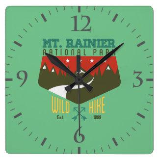 Mount Rainier National Park Square Wall Clock