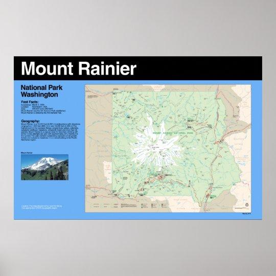 Mount Rainier National Park Map Poster   Zazzle.com