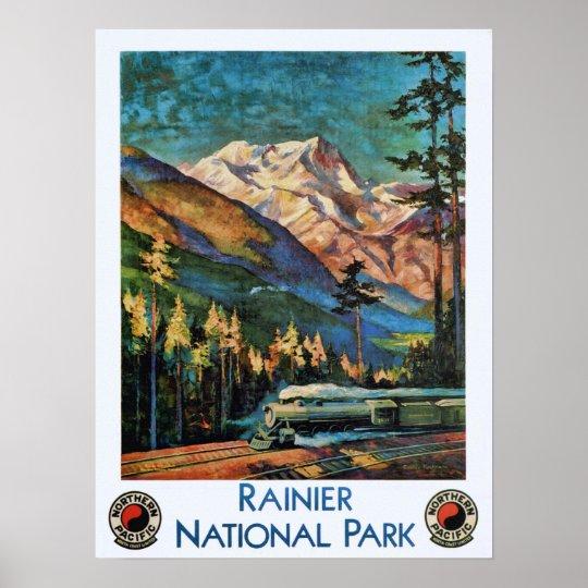 Mount rainier national park vintage train poster zazzle for Vintage train posters