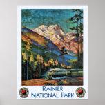 Mount Rainier National Park Vintage Train Print