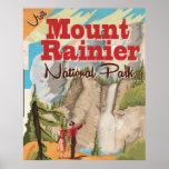 Mount Rainier national park Vintage Travel Poster