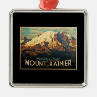 Mount Rainier Square Metal Christmas Ornament