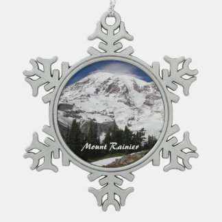Mount Rainier Photo Snowflake Pewter Christmas Ornament