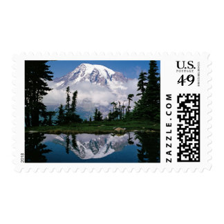 Mount Rainier relected in a mountain tarn Postage Stamp