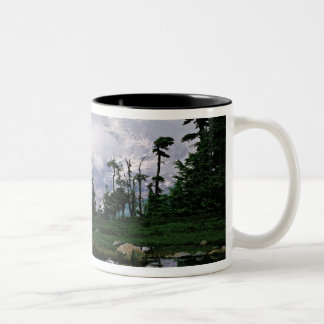 Mount Rainier relected in a mountain tarn Two-Tone Coffee Mug