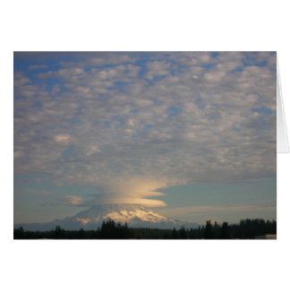 Mount Rainier with Lenticular and Cumulus Clouds Card