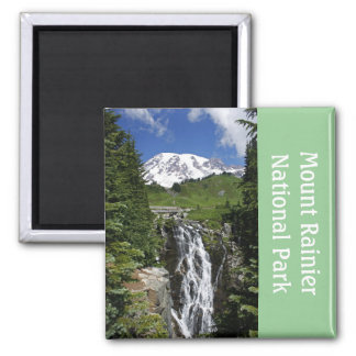 Mount Rainier with Waterfall Magnet