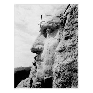 Mount Rushmore Construction of George Washington Postcard