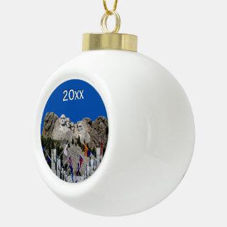 Mount Rushmore Customizable Photo Souvenir Ceramic Ball Christmas Ornament