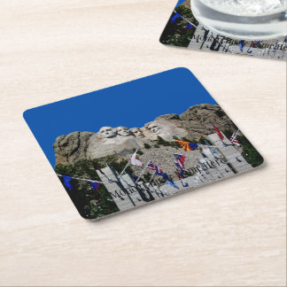 Mount Rushmore Customizable Photo Souvenir Square Paper Coaster