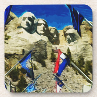 Mount Rushmore From The Hall of States Abstract Beverage Coaster
