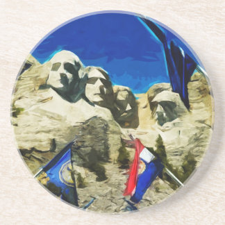 Mount Rushmore From The Hall of States Abstract Sandstone Coaster