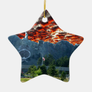 Mount Rushmore Gets a Makeover Ceramic Ornament