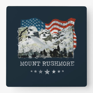 Mount Rushmore Monument Souvenir Gifts USA Square Wall Clock