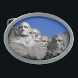 "Mount Rushmore National Memorial Monument Belt Buckle<br><div class=""desc"">The Mount Rushmore National Memorial is a sculpture carved into the granite face of Mount Rushmore (Lakota Sioux name: Six Grandfathers) near Keystone, South Dakota, in the United States. Sculpted by Danish-American Gutzon Borglum and his son, Lincoln Borglum, Mount Rushmore features 60-foot (18 m) sculptures of the heads of four...</div>"