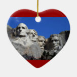 Mount Rushmore National Memorial Monument Double-Sided Heart Ceramic Christmas Ornament