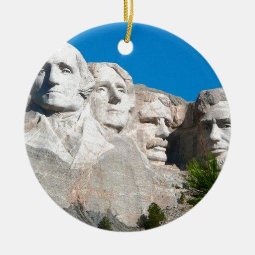 Mount Rushmore Rocks! Mount Rushmore, South Dakota Double-sided Ceramic Round Christmas Ornament