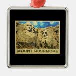 Mount Rushmore Vintage Square Metal Christmas Ornament
