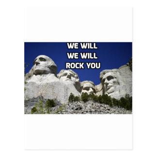 Mount Rushmore - We Will Rock You Postcard