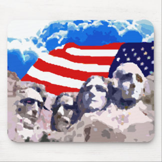 Mount Rushmore with American Flag Mouse Pad