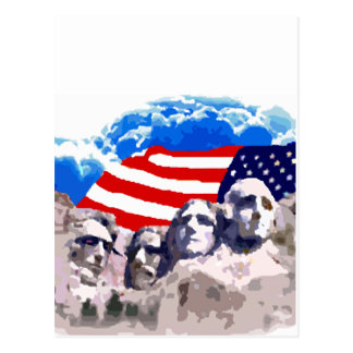 Mount Rushmore with American Flag Postcard