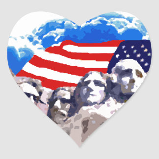 Mount Rushmore with American Flag Heart Sticker