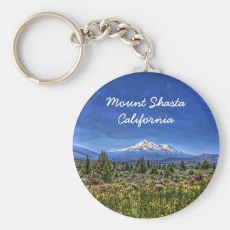 Mount Shasta Basic Round Button Keychain
