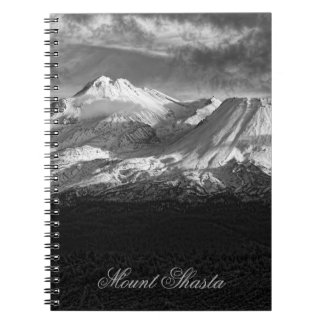 MOUNT SHASTA IN BLACK AND WHITE SPIRAL NOTE BOOKS