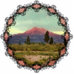 "Mount Shasta Vintage Ornament<br><div class=""desc"">Vintage image from 1939 of Mount Shasta and the California rural landscape surrounding it reprinted on this Christmas ornament with Victorian trim.</div>"