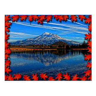 MOUNT SHASTA WITH FALL LEAVES POSTCARD