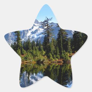 Mount Shuksan on a Sunny Day Star Sticker