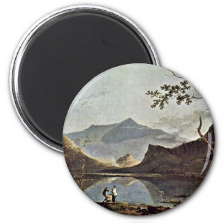 Mount Snowdon From Llyn Nantlle Seen By Wilson Ric 2 Inch Round Magnet