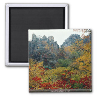 Mount Soraksan in fall 2 Inch Square Magnet