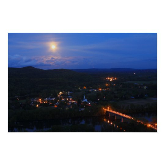 Mount Sugarloaf Full Moon over Sunderland Poster