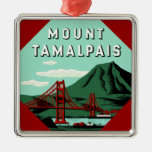 Mount Tamalpais Travel Poster Christmas Tree Ornament