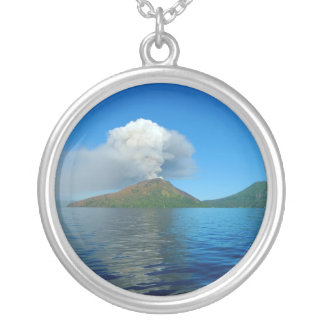 Mount Tarvurvur Eruption in Papua New Guinea Silver Plated Necklace