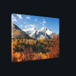 """Mount Timpanogos in Autumn Utah Mountains Canvas Print<br><div class=""""desc"""">A wrapped canvas print of  a breathtaking Utah landscape photograph of  Mt. Timpanogos in the Fall . A beautiful snow capped mountain surrounded by autumn trees with leaves in warm yellows and golds and a vibrant blue sky with wisps of puffy clouds.</div>"""