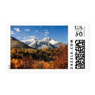 Mount Timpanogos in Autumn Utah Mountains Postage