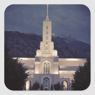 Mount Timpanogos LDS Temple, American Fork, Utah Square Stickers