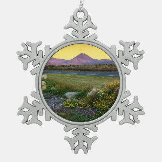 Mount Tongariro, New Zealand Snowflake Pewter Christmas Ornament