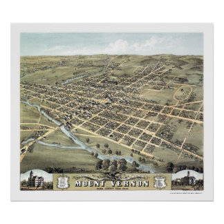 Mount Vernon, OH Panoramic Map - 1870 Poster