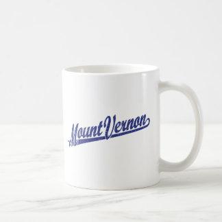 Mount Vernon script logo in blue distressed Coffee Mug