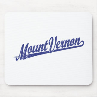 Mount Vernon script logo in blue distressed Mouse Pad