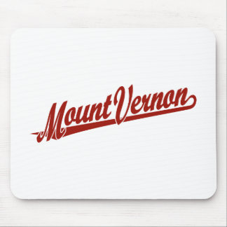 Mount Vernon script logo in red Mouse Pad
