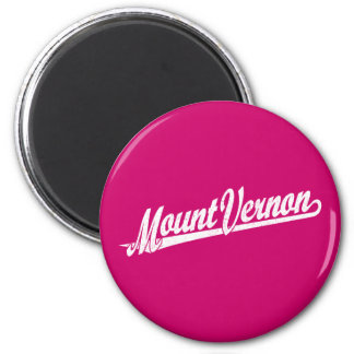 Mount Vernon script logo in white distressed Magnet