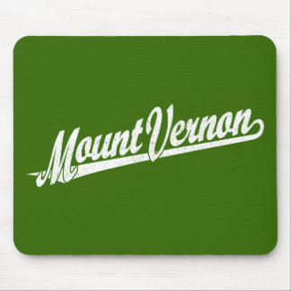 Mount Vernon script logo in white distressed Mouse Pad