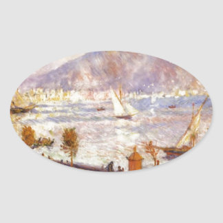 Mount Vesuvius in the Morning by Pierre-Auguste Oval Sticker